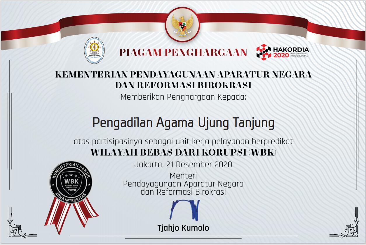 Pengadilan Agama Ujung Tanjung Terima Apresiasi  dan Penganugerahan Zona Integritas Menuju WBK dari KEMENPAN RB Tahun 2020
